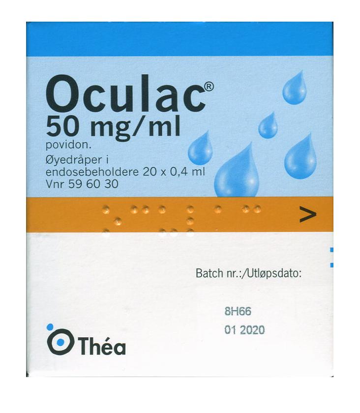 20a8336a9 OCULAC ØYEDRÅPER 50MG/ML 20X0,4ML - ApotekDirekte.no